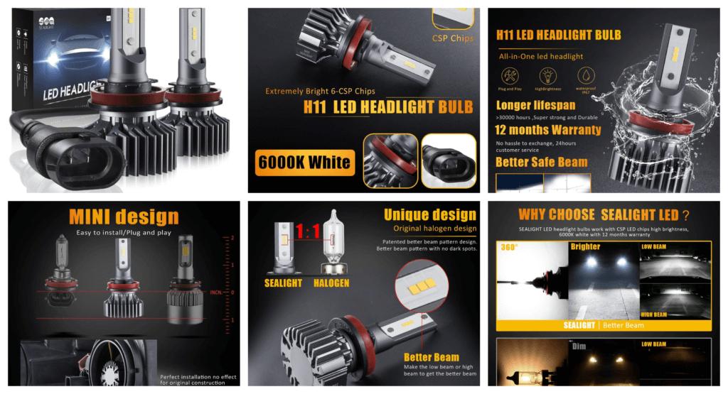 H11_H8_H9 LED Headlight Bulbs Conversion Kit