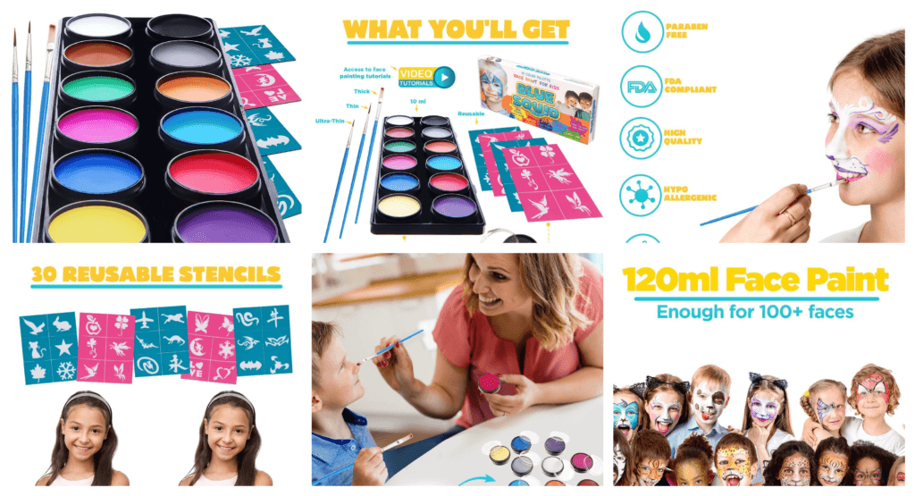 Roll over image to zoom in Face Paint Kit for Kids