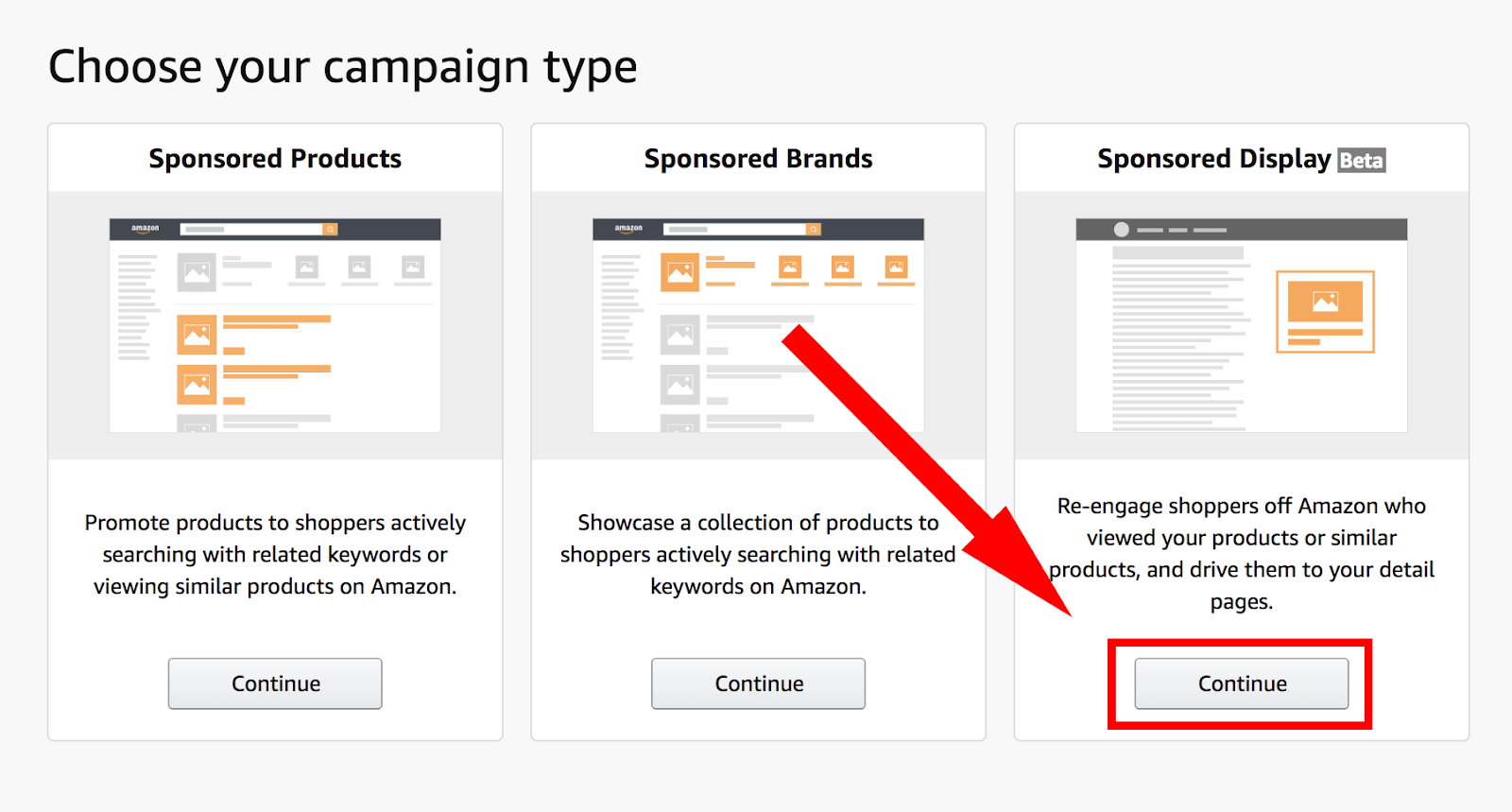 Amazon PPC: choose campaign type