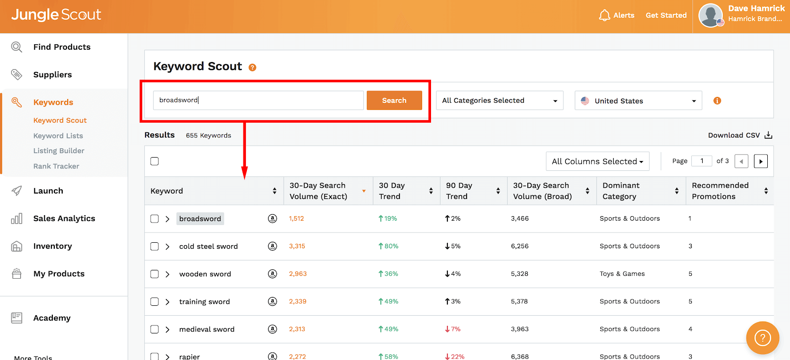 Amazon PPC: keyword Scout
