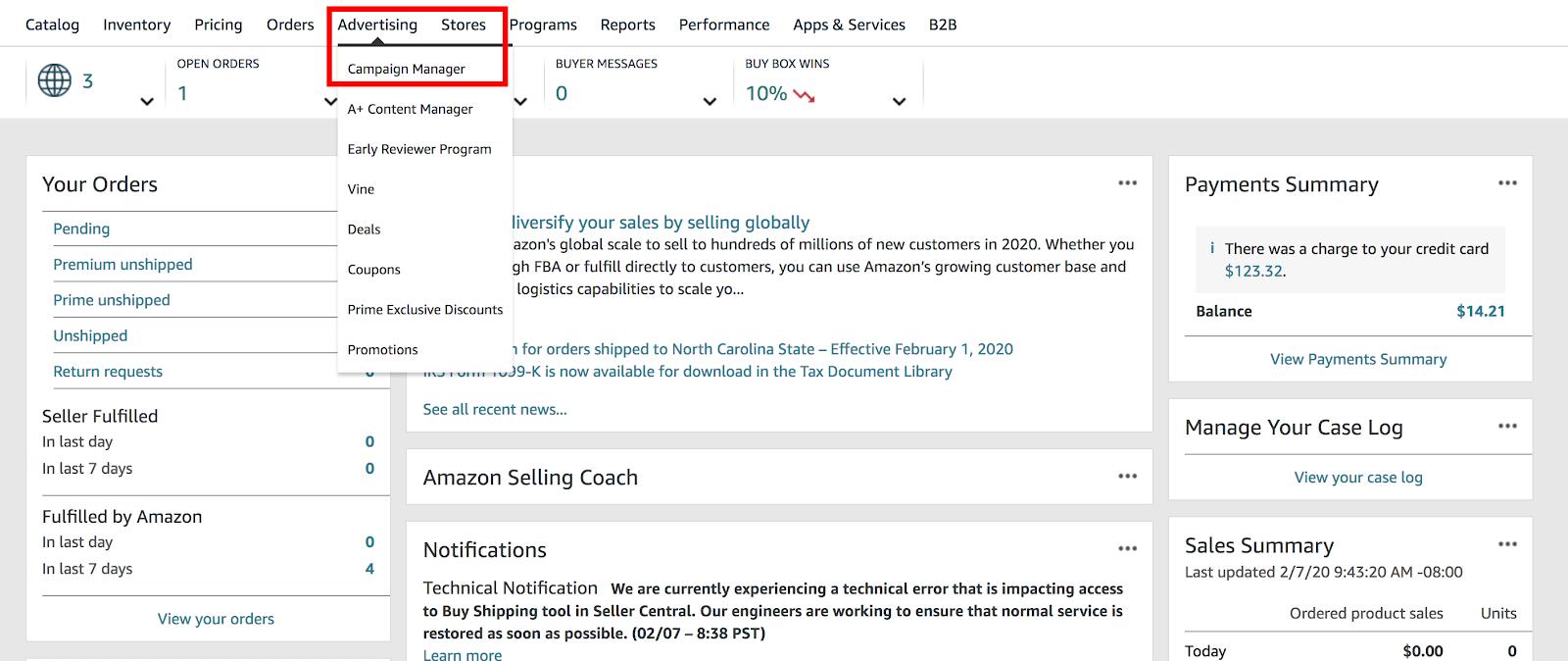 Amazon PPC: seller central