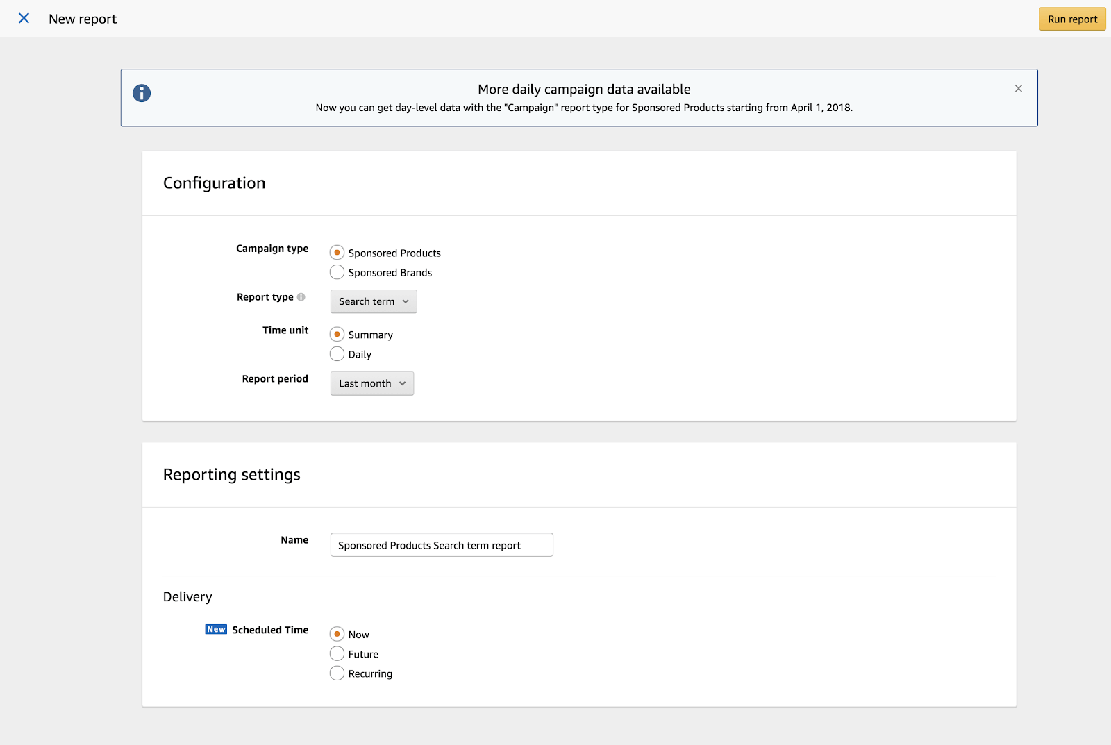 Amazon PPC: reporting settings