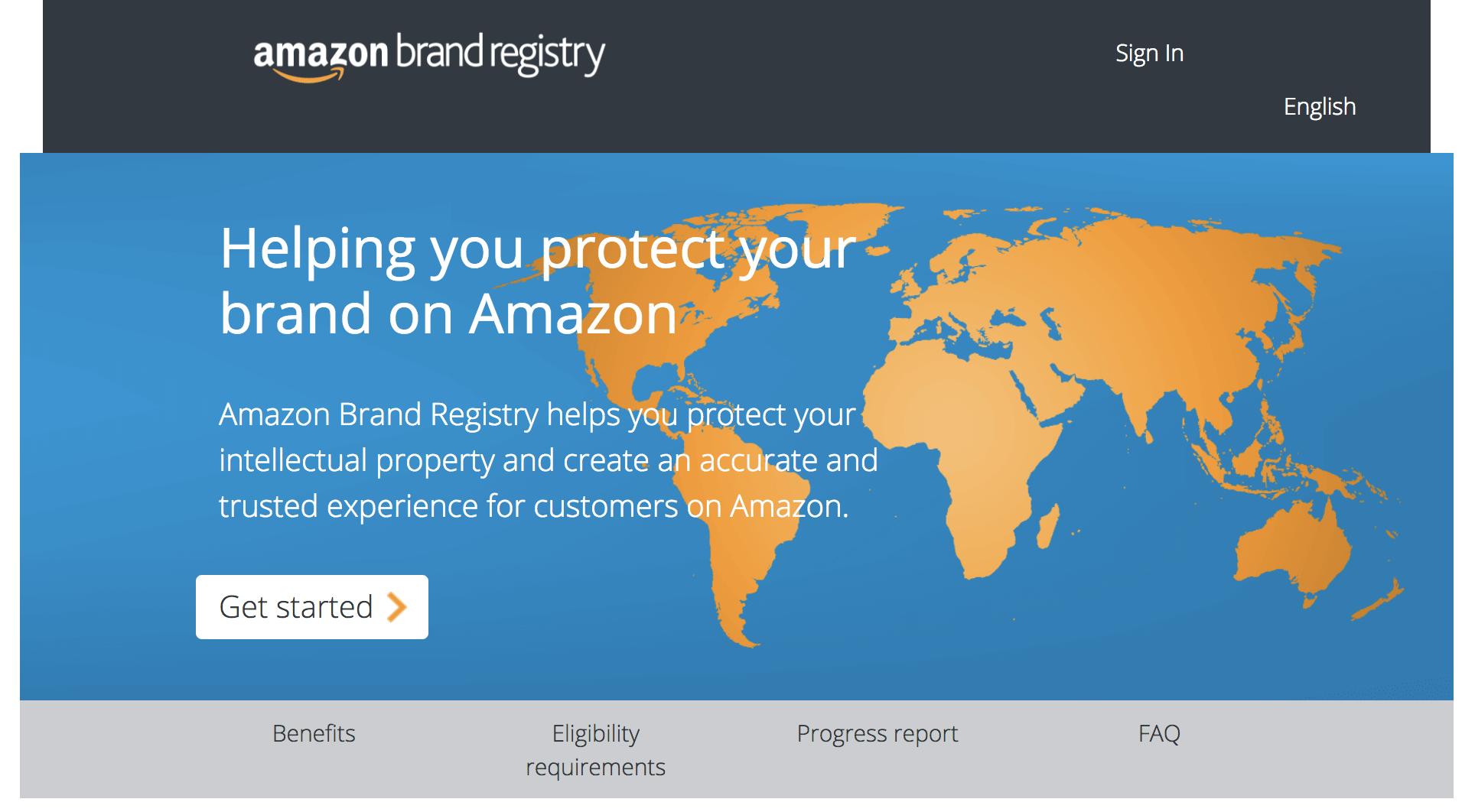 Amazon sellers: Brand Registry homepage