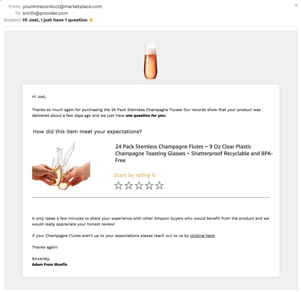 A simple example of a review email