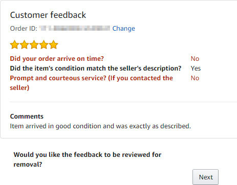 This is what feedback looks like during the Amazon feedback removal review.
