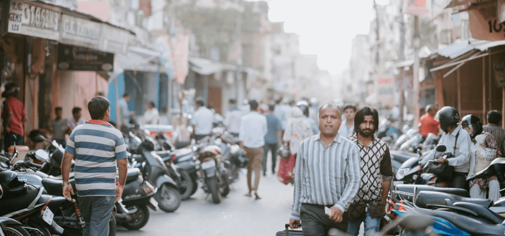 Men walking down Jaipur street