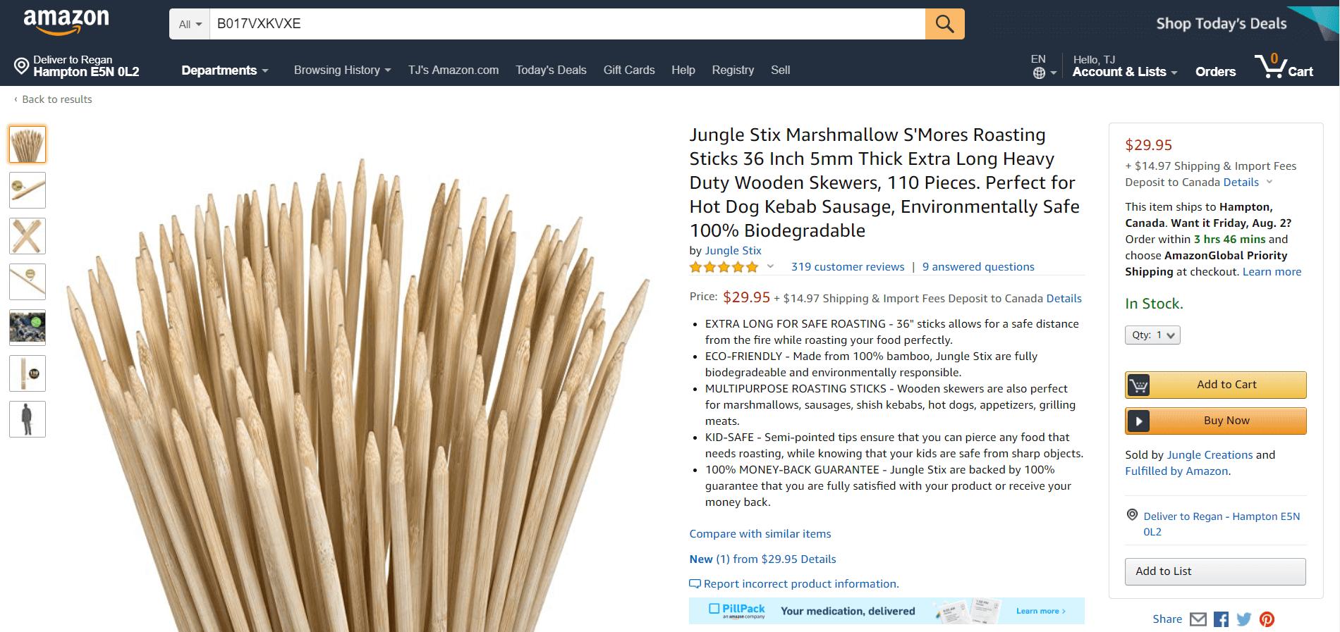 Amazon SEO - Jungle Stix listing above-the-fold