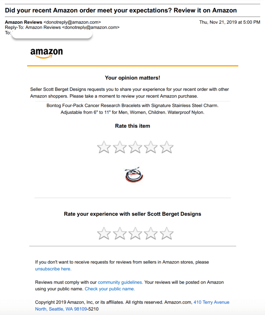 Amazon's request a review: request a review email
