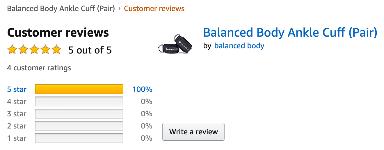 Amazon product listing: ankle cuff reviews
