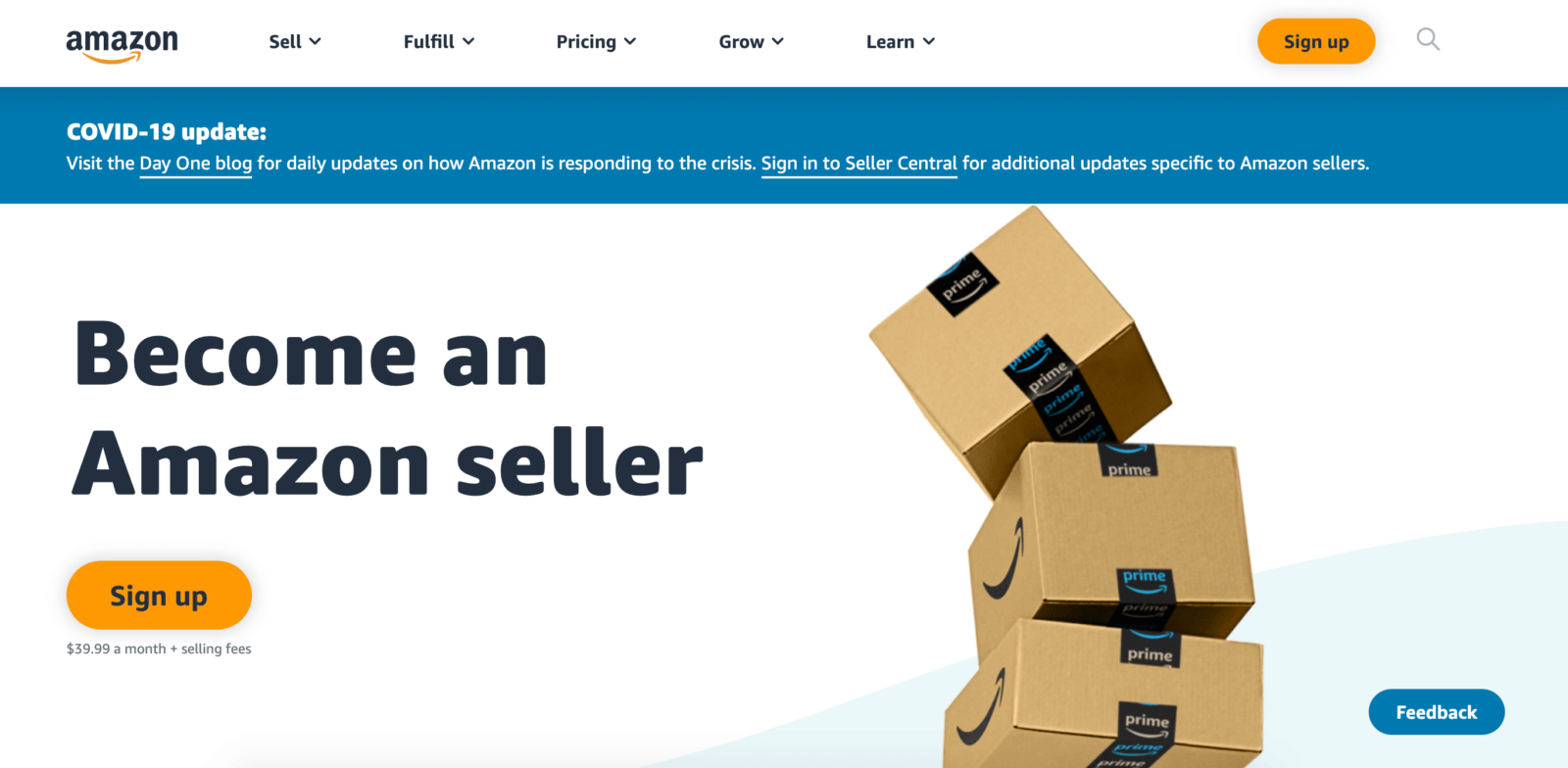 Amazon seller registration: homepage