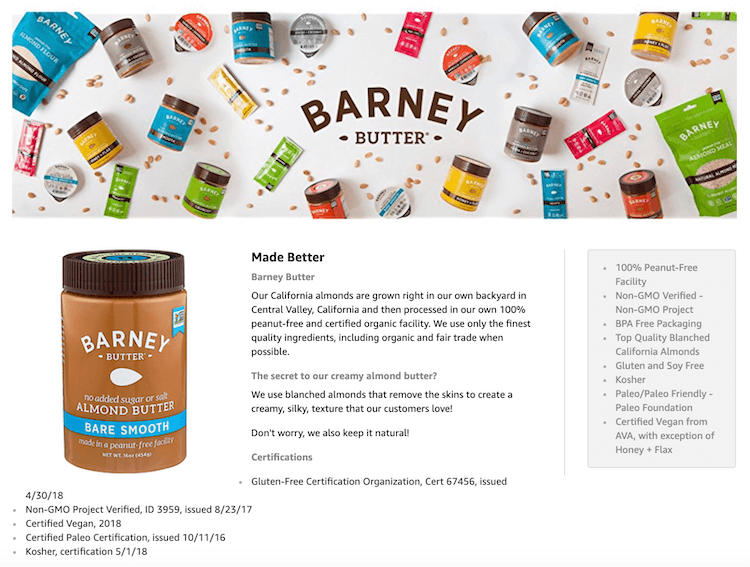 Amazon product descriptions: Barney's Nut Butter