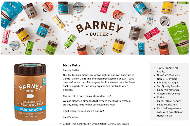 Amazon product descriptions: Barney Butter A+ content
