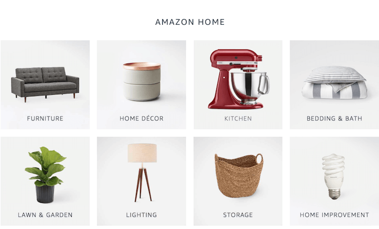 Amazon product categories: graphic of different items