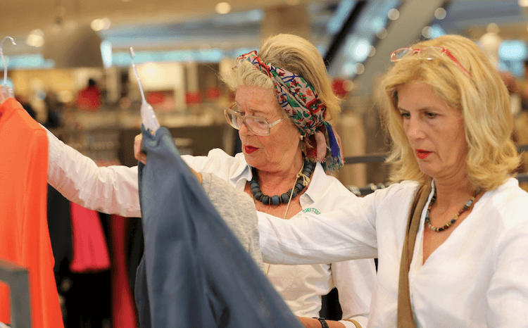 Millennial shopping habits: two women (of different ages) shopping