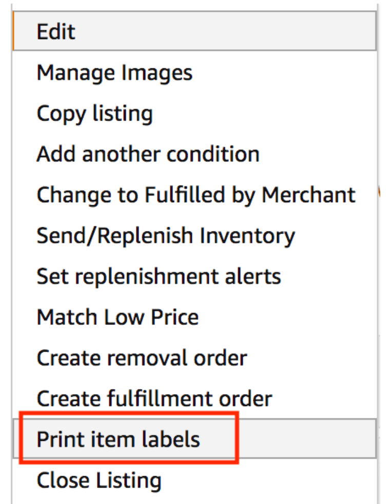 Amazon GTIN exemption: Print item labels option