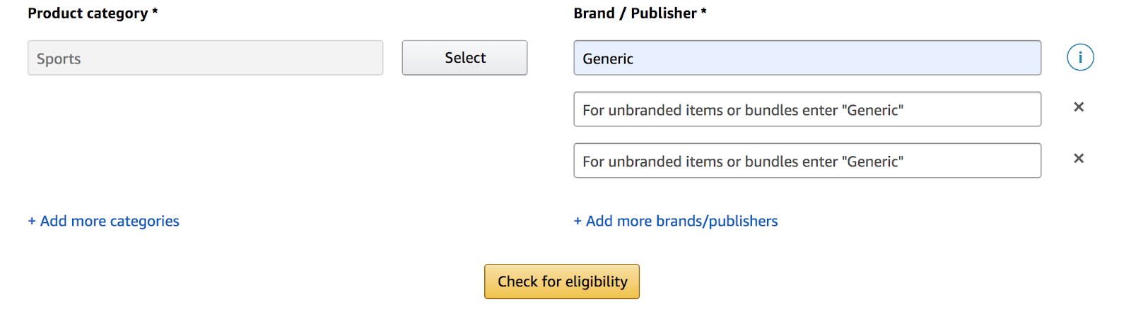 Amazon GTIN exemption: product category options