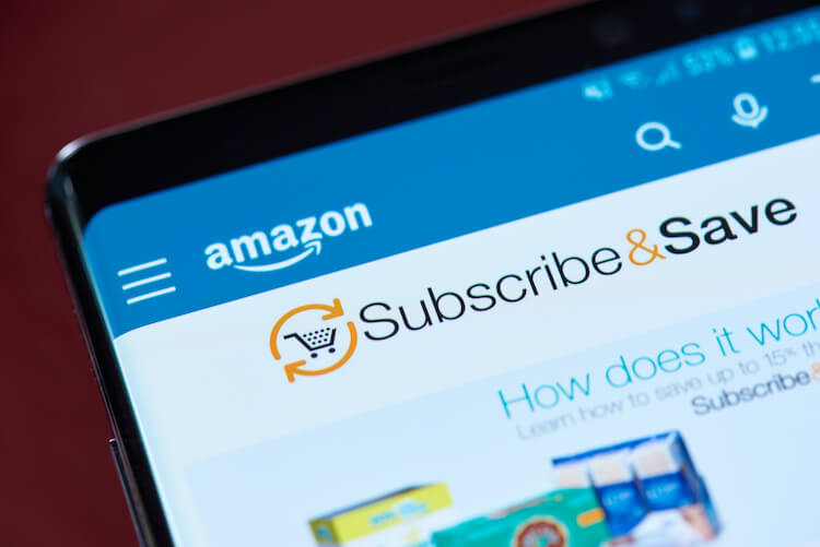 Amazon's subscribe and save: images shows Subscribe and Save homepage on a mobile phone