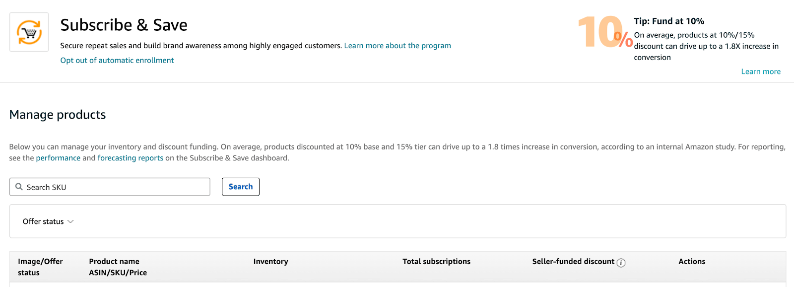 Amazon Subscribe & Save: managing products in Seller Central