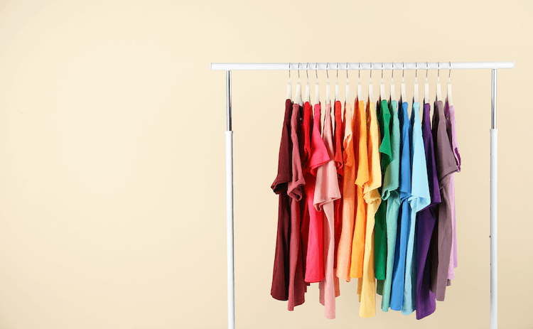 Amazon product listing variations: t-shirts on a rack