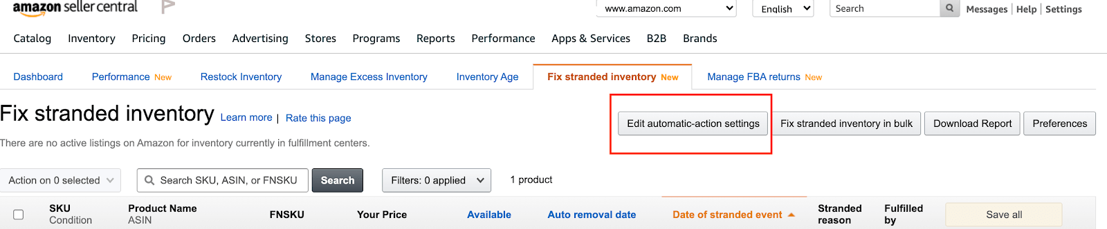 Amazon stranded inventory: settings