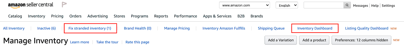 Amazon stranded inventory: inventory dashboard