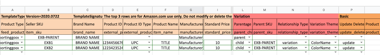 Amazon product listing variations: spreadsheet