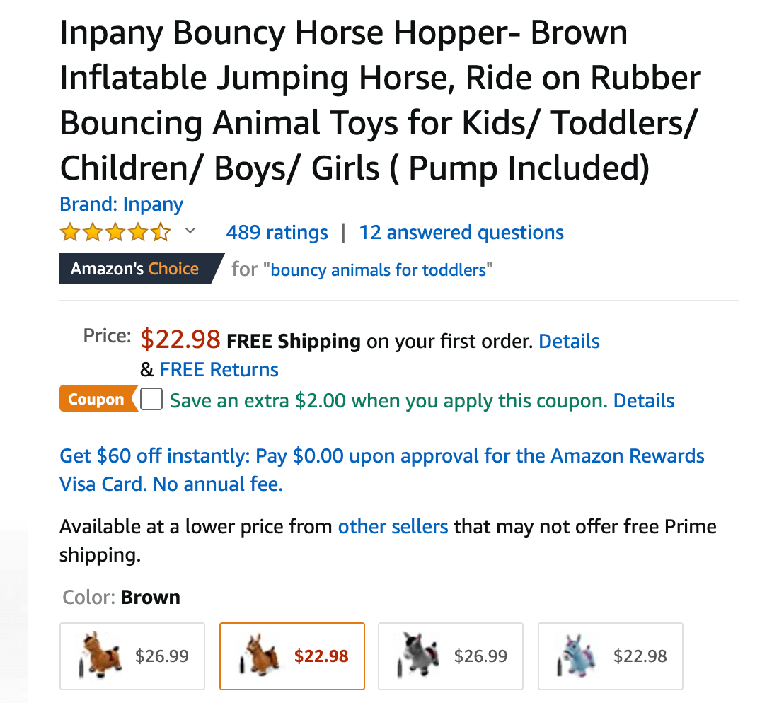 Amazon product listing variations: variations of a child's toy