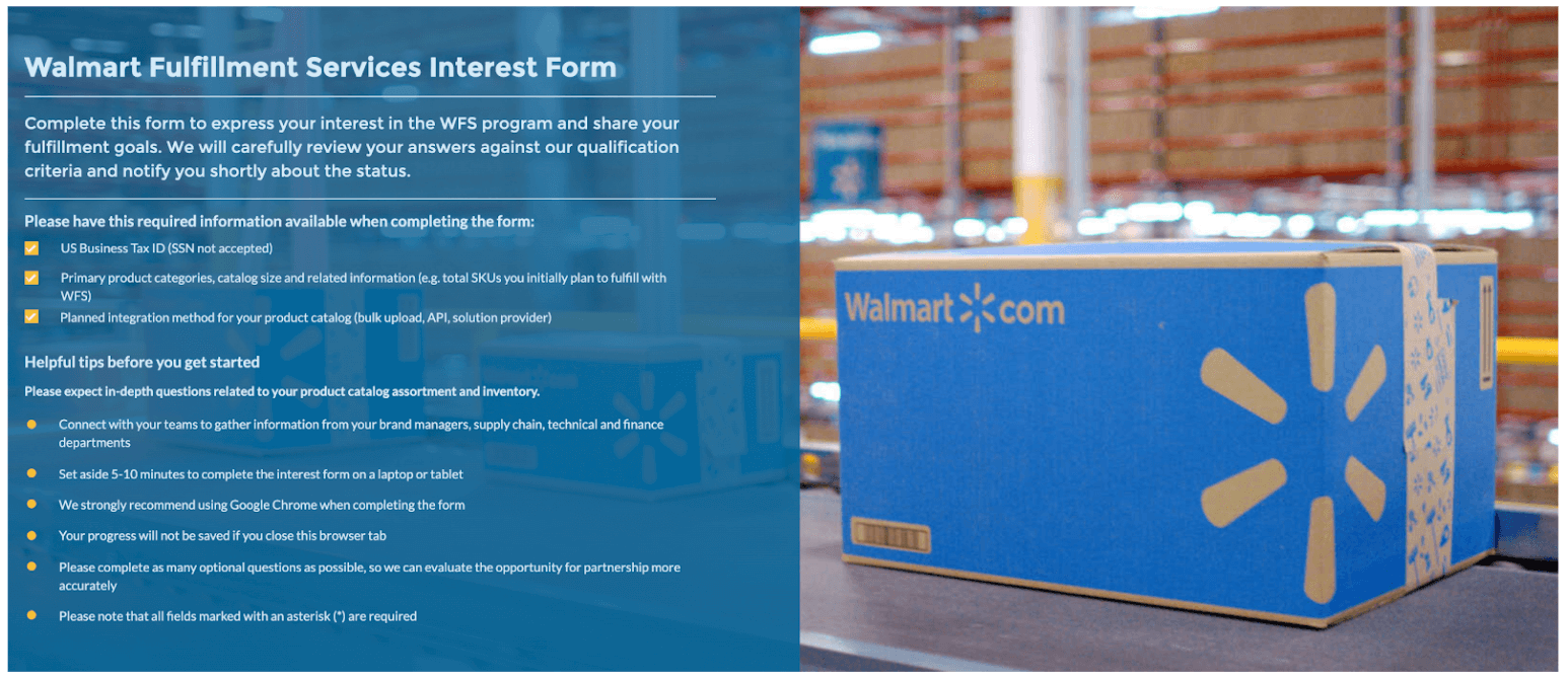 How to sell on Walmart: WFS interest form