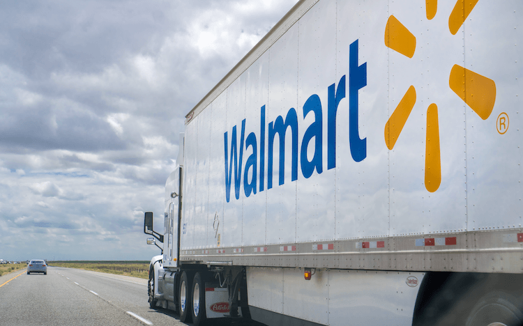 How to sell on Walmart: A transport truck driving down the highway