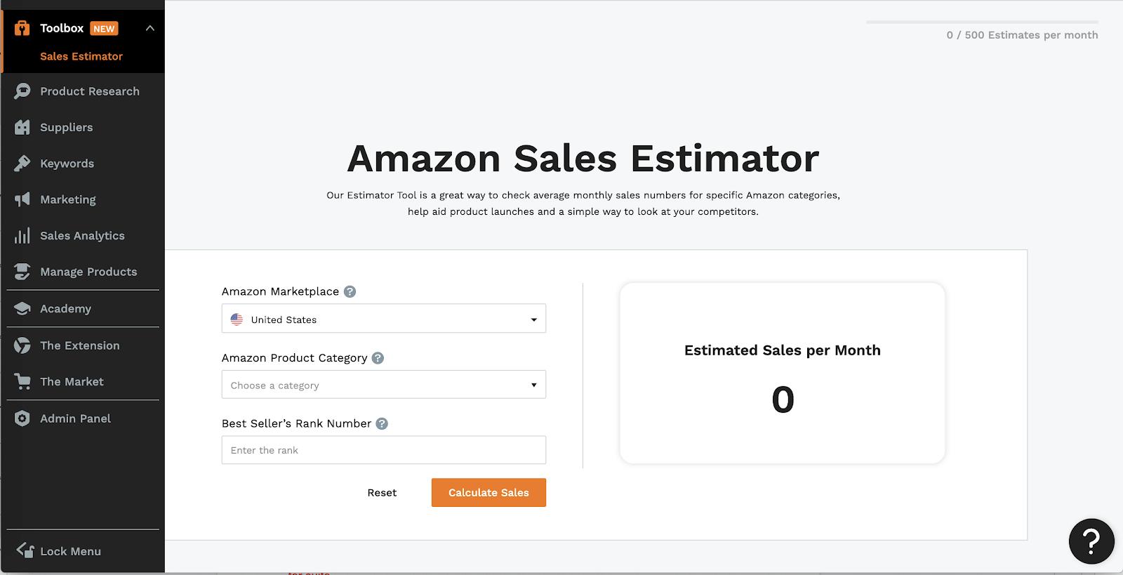 in-app Sales Estimator tool