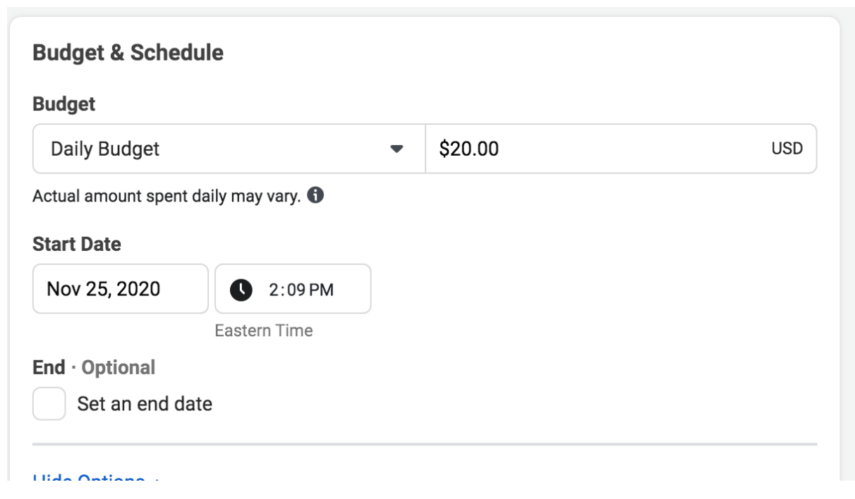 Setting a budget for Facebook Ads for Amazon FBA