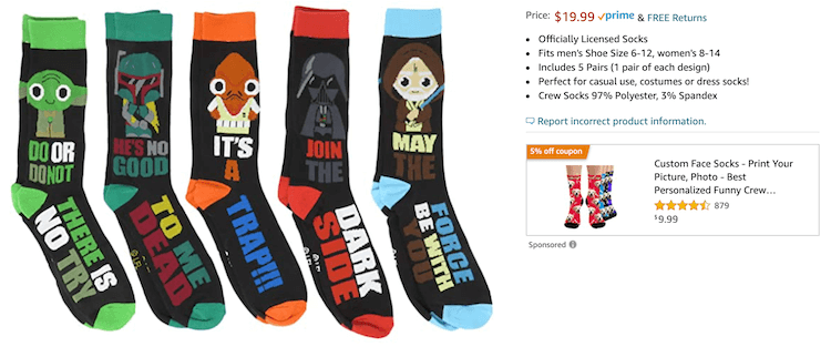 Amazon Sponsored Display ad for Star Wars socks