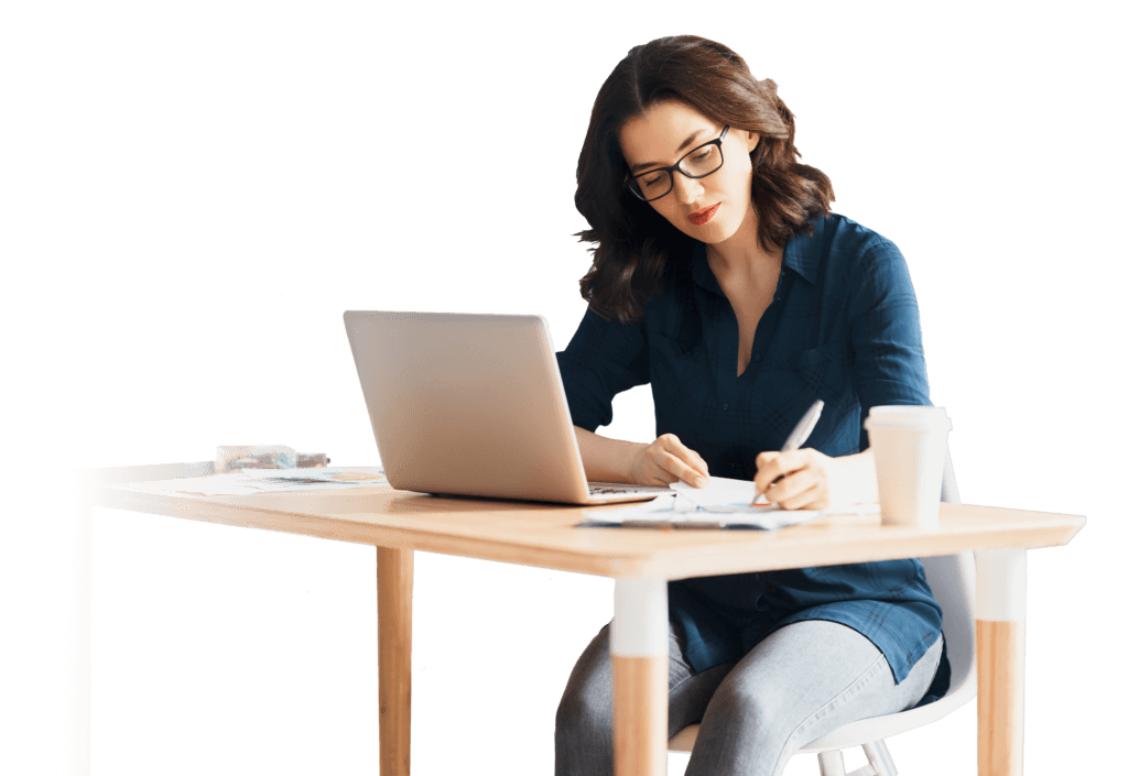 female working on a laptop