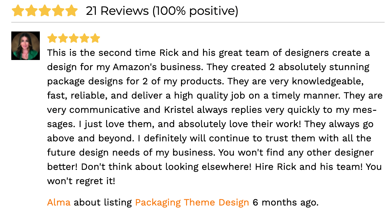 A five-star review for an Amazon FBA virtual assistant or consultant.